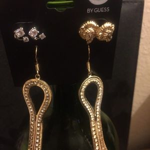 NEW GUESS JEWELRY EARRING 3 IN 1 SET